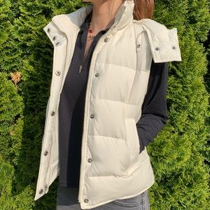 Theory White Down Puffer Vest w/ Hood